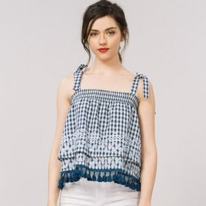 Embroidered gingham layered tie strap top